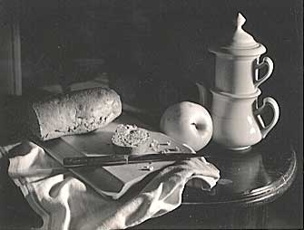 Still Life with Bread, Vintage silver print, 1949